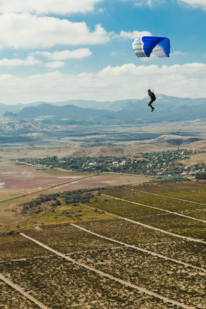 paraglider above the valley Stock Photo