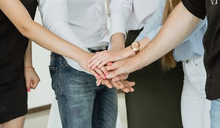 people supporting each other at group psychotherapy session Stock Photo