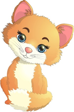 Small kitten is interesting. Vector illustration.