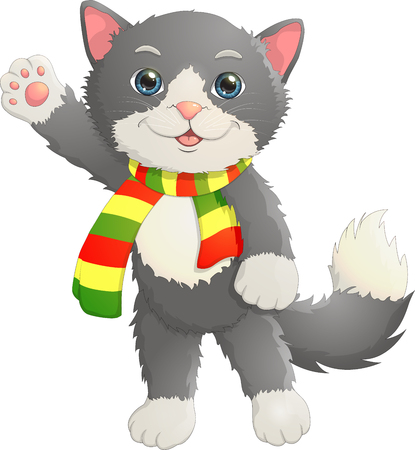 The kitten in the scarf says hello Illustration