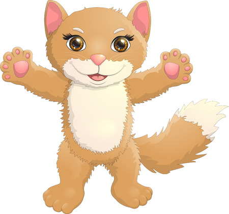 Brown kitten vector illustration