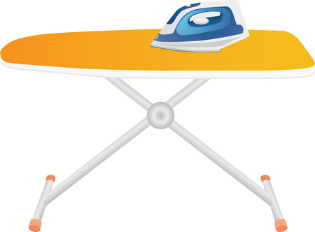 Blue iron on an orange ironing board vector illustration