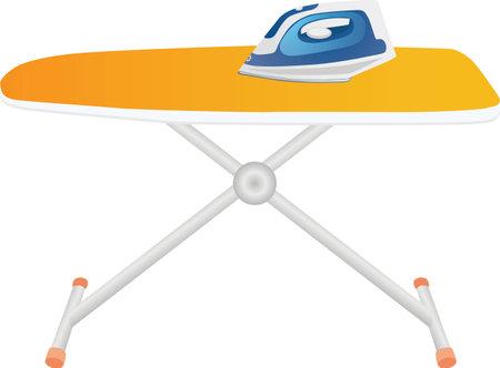 Blue iron on an orange ironing board vector illustration