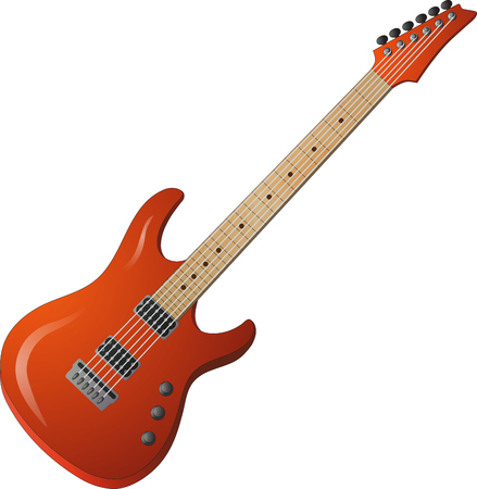 Red electric guitar with brilliance Illustration