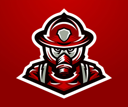 Logo, mascot firefighter. Lethal task, a dangerous profession, mask, rescue squad, uniforms. Vector illustration.