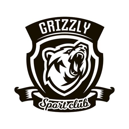 growling: Monochrome logo, emblem, growling bear.