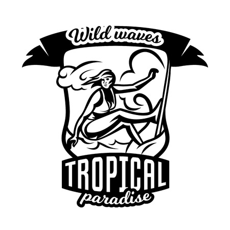 surf team: Monochrome logo, emblem, girl surfer. Surfing on the waves, the beach, weekend, extreme sport.