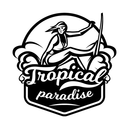 Monochrome logo, emblem, girl surfer. Surfing on the waves, the beach, weekend, extreme sport. Vector illustration. Illustration
