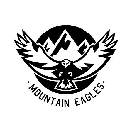 Monochrome logo, eagle flying in the mountains. Vector illustration. Illustration