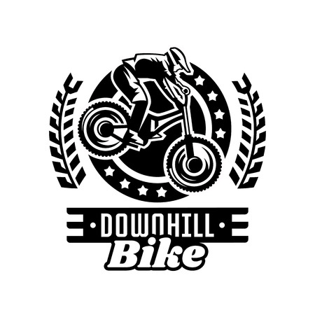 Monochrome logo, mountain bike racer. Downhill, freeride, extreme sport. Vector illustration.