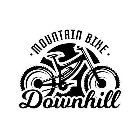 Monochrome logo, mountain bike. Downhill, freeride, extreme sport. Vector illustration.