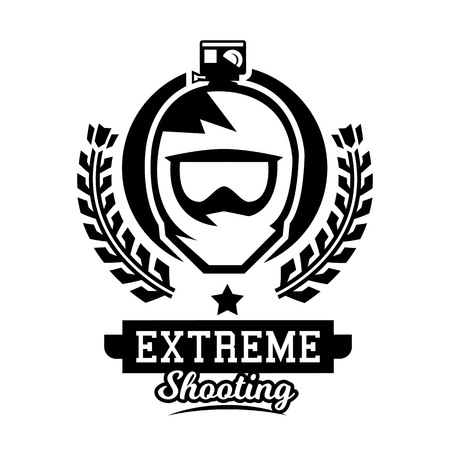 Monochrome logo, helmet of the rider. Mountain biking, camera, video shooting, extreme sports. Vector illustration. Çizim