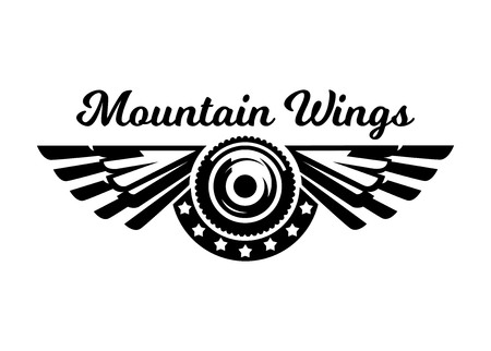 Monochrome logo, wheel and wings. Mountain biking, extreme sports. Vector illustration.