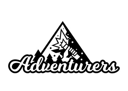 Monochrome logo, adventure in the mountains. The vector illustration.
