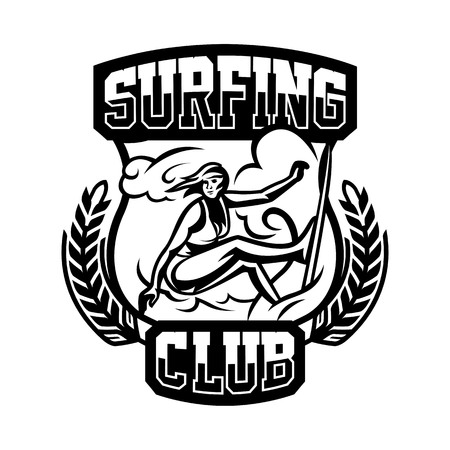 surf team: Monochrome logo, emblem, girl surfer. Surfing on the waves, the beach, weekend, extreme sport. Vector illustration. Illustration