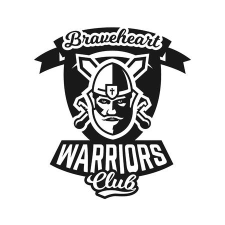 Monochrome logo, emblem, knight in helmet against the background of swords crosswise. Viking, barbarian, warrior, soldier, shield. Vector illustration. Illustration