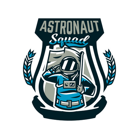 Emblem, logo, an astronaut salutes and holds a flag. Flight to the moon, space, intergalactic journey, universe, shield. Vector illustration, printing on T-shirts