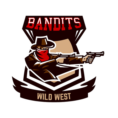 Emblem, logo, cowboy shooting from two revolvers. Wild west, a thug, Texas, a robber, a sheriff, a criminal, a shield. Vector illustration, printing on T-shirts