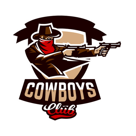 robber: Emblem, logo, cowboy shooting from two revolvers. Wild west, a thug, Texas, a robber, a sheriff, a criminal, a shield. Vector illustration, printing on T-shirts