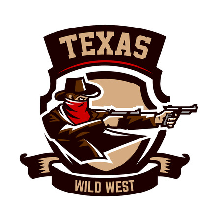 Emblem, logo, cowboy shooting from two revolvers. Wild west, a thug, Texas, a robber, a sheriff, a criminal, a shield. Vector illustration, printing on T-shirts Banco de Imagens - 77225334