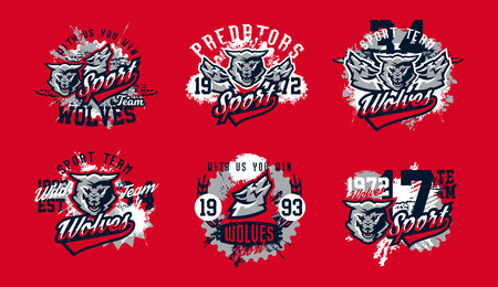 A collection of designs for printing on T-shirts, aggressive wolf ready to attack. Predator forests, dangerous animals, wild animal, mascot, lettering. Vector illustration, grunge effect Illustration