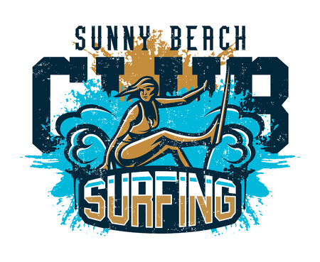 Design for printing on a T-shirt, girl surfer drifting through the waves. Extreme sport, beach, sunny coast, lettering, text. Vector illustration, grunge effect. Illustration