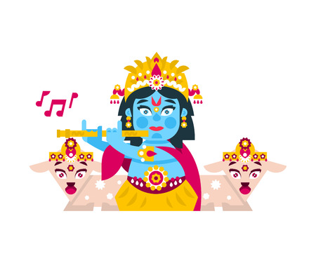 Lord Krishna sitting in the lotus position, in jewelry, plays the flute in goats environment. Music, deity, animals. Vector illustration. Flat style. Illustration