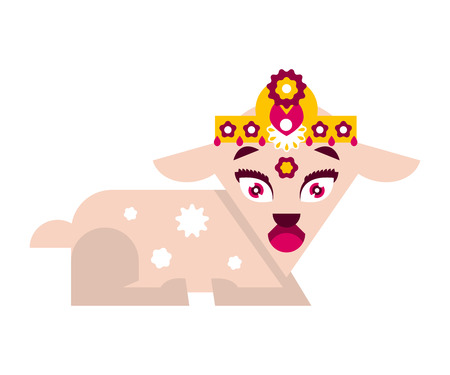 The image of the holy animal. Seated goat in jewelry. Vector illustration. Flat style
