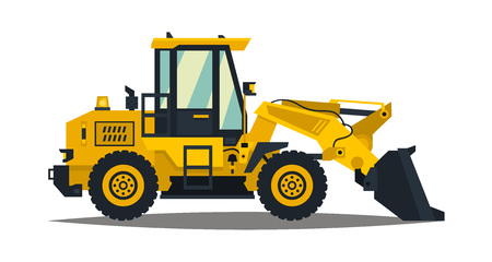 Front-end loader. Isolated on white background. Construction machinery. Flat style