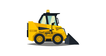 A Mini loader. Yellow, flat style. Commercial Vehicles. Special equipment. Vector illustration. Flat style illustration.