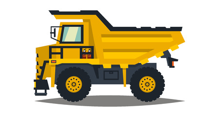 heavy construction: Dumper. Big car. Yellow truck. Isolated on white background. Flat style illustration.