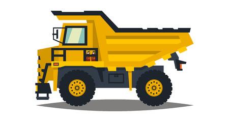 Dumper. Big car. Yellow truck. Isolated on white background. Flat style illustration.