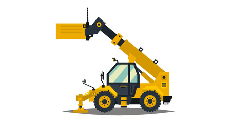 Yellow telehandler. Isolated on white background. Special equipment. Construction machine. Commercial Vehicles. Vector illustration. Flat style Иллюстрация