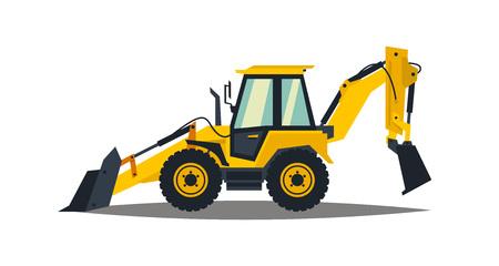 Tractopelle jaune sur fond blanc. Machines de construction. Équipement spécial. Illustration vectorielle Vecteurs