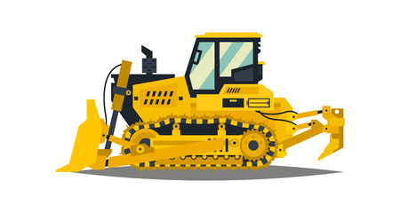 Bulldozer. Tracked vehicles, tractor. Yellow, isolated on white background. Plowman, digger. Vector illustration.