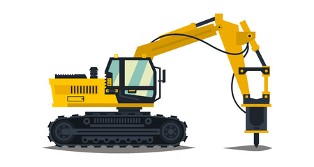 Excavator with his hammer. Hydraulic crusher. Yellow, isolated on white background. Construction machinery. Special equipment. Vector illustration. Flat style Illustration
