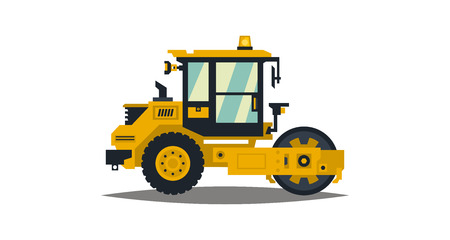 Yellow asphalt compactor isolated on white background. Construction machinery. Special equipment. Road repair. Vector illustration. Flat style Illustration