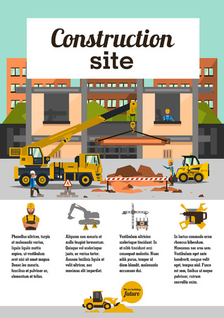 heavy construction: Construction site. Staff working on the construction on the background of the city. Crane car, truck. The icons in the background, cranes, transport, worker, tools. Text template. Vector illustration