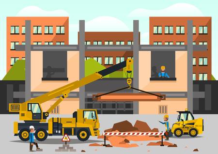 Bouwplaats. Personeel dat aan de bouw op de achtergrond van de stad werkt. Kraanwagen, vrachtwagen. Druipen, optillen, slepen. Werktool. Bedrijf, speciale apparatuur. Vector illustratie