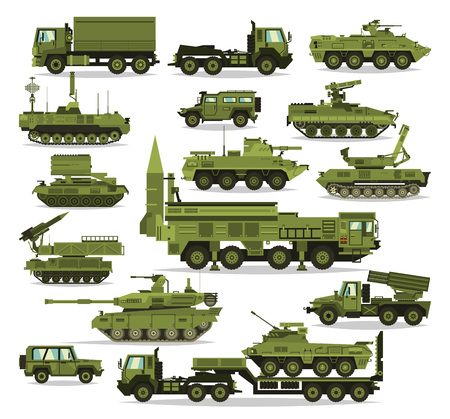 howitzer: Big set of military equipment. Heavy, reservations and special transport. Equipment for the war. The missile, tanks, trucks, armored vehicles, artillery pieces. Isolated objects. Vector illustration
