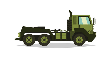 Military truck. The car involved in the fighting. Transportation of heavy machinery. Special equipment. Diesel. Vector illustration. flat style Illustration