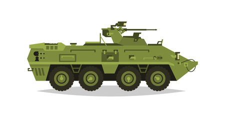 Armored infantry vehicle. Exploration, inspection, optical review, armor, protection, gun, ammo. Equipment for the war. The attack on the enemy. Heavy trucks, all-terrain vehicle. Vector illustration