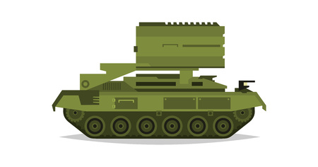 complex system: Multiple launch rocket systems. Military equipment. Special transport. Missiles, bombs, destruction of the enemy. All Terrain Vehicle, an armored corps. Vector illustration