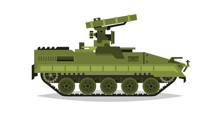 Sistema de misiles anti-tanque autopropulsado. Investigación, inspección, revisión óptica, misiles, ataque aéreo. Equipo para la guerra. Todo terreno Vehículo, maquinaria pesada. Ilustración del vector