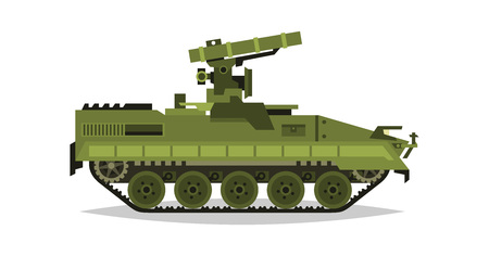 Self-propelled anti-tank missile system. Research, inspection, optical review, missiles, air attack. Equipment for the war. All Terrain Vehicle, heavy machinery. Vector illustration