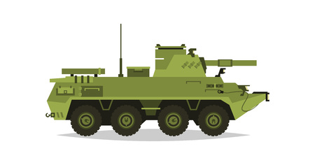 self  defense: Self-propelled artillery unit. Research, inspection, optical review, rockets, shells. Equipment for the war. All Terrain Vehicle, heavy machinery. Vector illustration