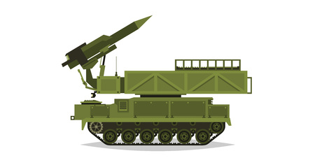 Anti-aircraft missile system. Rockets and shells. Special military equipment. Air Attack. All Terrain Vehicle, heavy vehicles. Vector illustration.