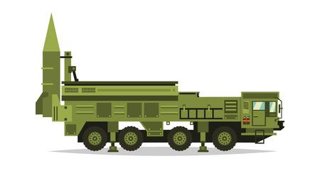Sistema de misiles antiaéreos. Cohetes y conchas. Camión grande. Equipo militar especial. Ataque aéreo Vehículo todoterreno, vehículos pesados. Ilustración del vector. Ilustración de vector