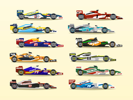 Set of racing bolid. A collection of sports cars.