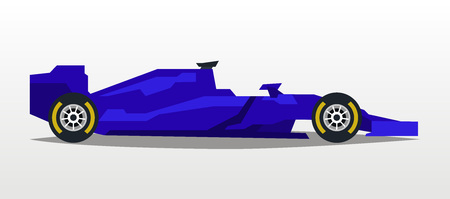 Purple racing bolid. Sports car. Quick transport. Powerful engine. Aerodynamic body. Side view, isolated on background. Vector illustration